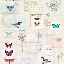 VINTAGE POSTCARDS WALLPAPER A160 WINDSOR WALLCOVERINGS BUTTERFLIES SHABBY CHIC