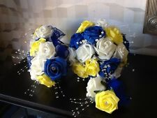 WEDDING FLOWERS BRIDE/MAID IVORY/ROYAL BLUE/YELLOW ROSE CRYSTAL  BOUQUET PACKAGE