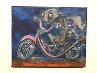 GUS FINK art ORIGINAL painting outsider lowbrow Comix 60s MOTORCYCLE BIG DADDY
