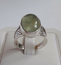 AGNES CREATIONS/BEAUTIFUL LOOKING WOMAN RING 925 SILVER ADORNED PREHNITE SIZE 55