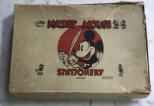 EARLY WALT DISNEY MICKEY MOUSE STATIONERY POWERS PAPER ENVELOPE LETTER SET BOX