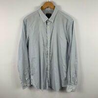 Gazman Mens Button Up Shirt Size Large White Blue Plaid Long Sleeve Collared