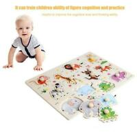 Wooden Baby Children Animal Jigsaw Early Learning Puzzle Toy Educational FZ