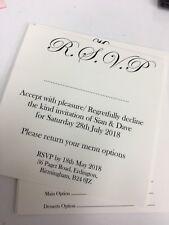 Wedding rsvp or gift poem cards for invites x10 white / ivory / hammer / linen