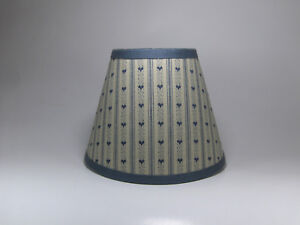Country Primitive Slate Blue Ticking  Heart Fabric Lampshade Lamp Shade