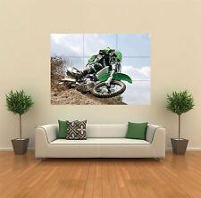 Motocross Kamasaki Motorbike Green Giant Art Print Poster Picture Wall X1374