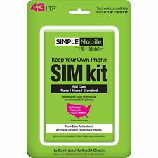 Simple Mobile 3In1 Sim Card Kit 4G Lte Unlimited Talk Text Data Plan Nationw