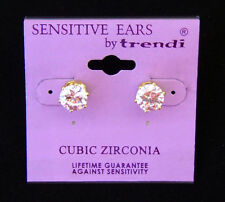 Gold Cubic Zirconia 8 mm Stud Earring  FOR SENSITIVE EARS!!!