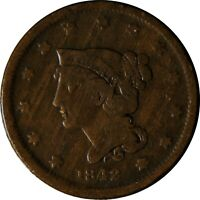 1842 Braided Hair Large Cent