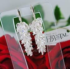 BRIDAL CLUSTER EARRINGS SWAROVSKI Elements ROUNDS  & PEARL 925 STERLING SILVER