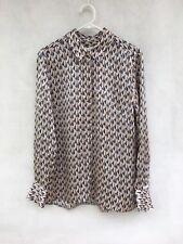 ✨ Sportscraft Signature 100% Silk Long Sleeve Print Blouse Shirt Top Size 12