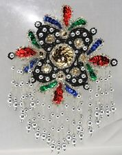 Sequin Applique Epaulet silver with bright jewels