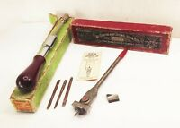 Vtg Stanley yankee no.135 screwdriver drill & Irwin no.22 auger brace bit w/ box