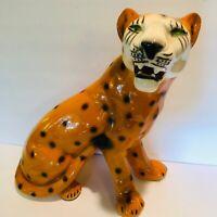 "Vintage Large Ceramic Leopard Statue Figurine 13"""