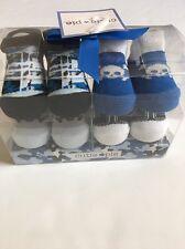 Cutie Pi Baby Boy Booties Socks Size 0-12 Months Layette Blue Black 4 Pair Skull