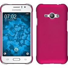 Hardcase Samsung Galaxy J1 ACE rubberized hot pink Cover + protective foils