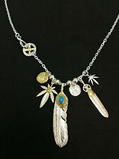 Goro's Sterling 925 Silver Turquoise Feather Medal Leaf Necklace + 65cm Chain