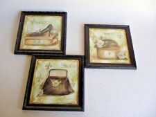 Set Of 3 Kirkland's Home Wall Art Hanging Glass Framed Prints French Paris Theme