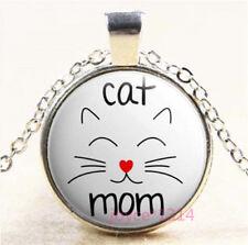 Cat MoM Cabochon Glass Silver/Bronze/Black/Gold Chain Pendant Necklace #7841