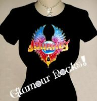 Journey Band Womens Rhinestone Crystal T Tee Shirt Glamour Rocks bling