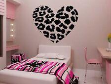 Leopard Print Heart Wall Decals Cheetah Stripe Decoration Sticker Living Room