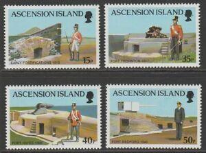 Ascension 2000 Forts & uniforms MINT set sg806-809 MNH