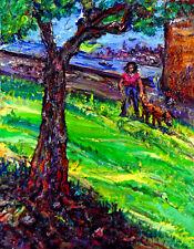 Original OIL Painting Arthur Robins NYC LANDSCAPE Girl Dog River Park Boat Urban