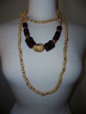 2 matching necklaces / beads with stone pendant ethnic