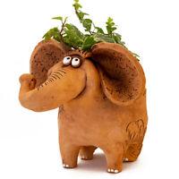 Brown Elephant Ceramic Planter, Clay Plants Pot Cachepot, Russian Handmade