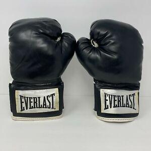 Everlast Black & White Boxing Gloves 12oz Wrist Wrap Training Sparring EUC