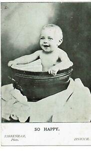 POSTCARD BABY IN TIN BATH - TIBBENHAM STUDIO IPSWICH C1910 ADVERTISING CARD