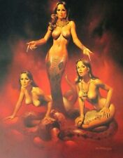 Boris Vallejo Vintage Art Nude Women GGA Serpent Snake Fantasy Print Echidna