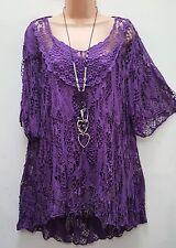 New Lagenlook Purple 2 pc Mesh Top & vest Tunic 16 18 20 22 24