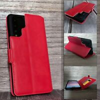 HUAWEI P30 PRO Handcrafted Real Saffiano Leather Wallet  Case RED