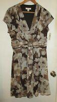 $100 Coldwater Creek women Petite sz LP 14P 16P shift dress brown ivory floral