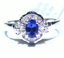 1.03CT 14K Gold Natural Tanzanite Diamond Vintage AAA Art Deco Engagement Ring