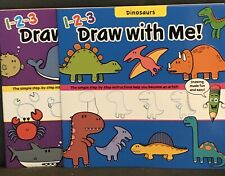 New (2) 1-2-3 Draw With Me Kids Learn How To Draw Books Dinosaurs Ocean Animals