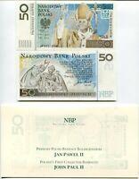 POLAND 50 ZLOTYCH 2006 POPE JOHN PAUL II COMM. P 178 UNC WITH FOLDER