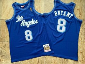 Los Angeles Lakers #8 Kobe Bryant Blue Throwback Jersey For Collection