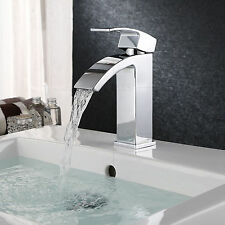 New listing Bathroom Curved Basin Faucet Waterfall Sink Chrome Mixer Single Hole/Handle Tap