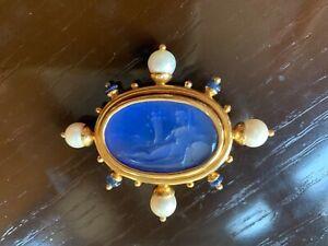 Elizabeth Locke 18K Intaglio Cerulean goddess brooch