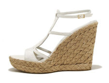 LKNU! $498 Premium Stuart Weitzman 10 White Leather Womens Wedge Heels
