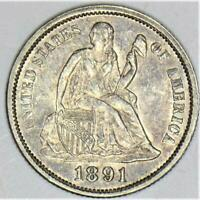 1891 Seated Liberty Dime; Superb Original Choice AU-Unc.