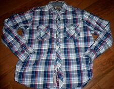 SuperDry Men's XL Long Sleeve Button Up Flannel Shirt Plaid Blue
