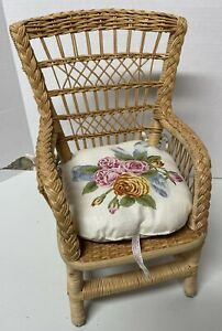 American Girl Samantha's Wicker Chair with Retired Cushion