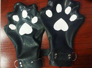 Latex Gummi Handschuhe Cosplay Katzenpfote Schön Schwarz Gloves Finger Verbinden