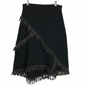 Nic + Zoe Fringe Trim Skirt PM Petite M Wrap Midi Elastic Waist Black NEW NWT