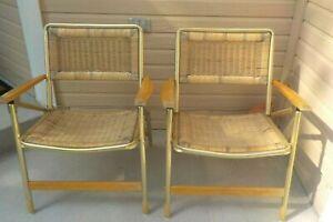 2 Vtg TELESCOPE Lawn Wicker Aluminum Lawn Chairs Mid-Century Modern Hardwood