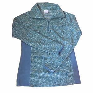 Women's Columbia 1/4 Zip Fleece Pullover Jacket Size Medium M Green Chevron