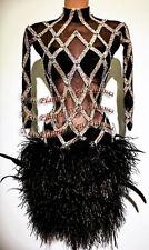 L833 Ostrich feather Ballroom Samba Cha Cha Ramba Latin Rhythm US 6 Dance dress